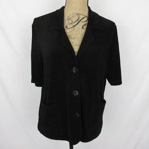 Chico's Travelers Top Buttons Pockets Black